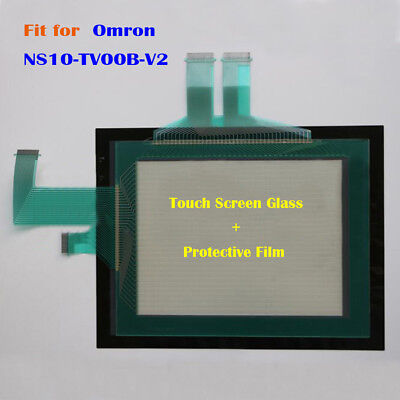 for Omron NS10-TV00B-V2, NS10TV00BV2 Touch Screen Glass + Protective Film New