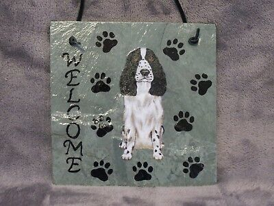 Hand Made Springer English Spaniel Dog Welcome Sign 5 1/2 Inch X 5 1/2 Inch