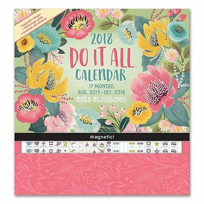 Orange Circle Studio 17-Month 2018 Do It All Magnetic Wall Calendar Blossoms