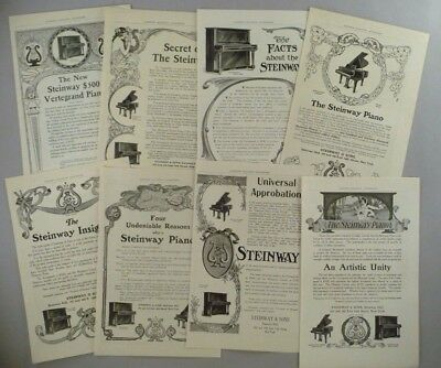 Steinway Piano LOT of 8 PRINT AD - 1905