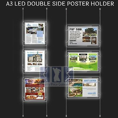 New 3x A3 LED Double Side Window Light Pocket Light Panel Estate Agent Display