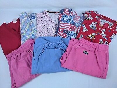 Scrubs Lot of Five Tops Sz. Small and Three Pairs of Bottoms 1ea Sz. Small 2ea M