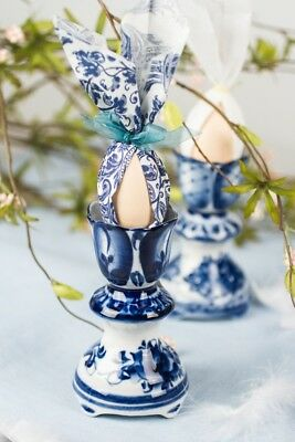 Gzhel Porcelain Egg Cup White Blue Made in Russia Hand Painted Easter Paskha