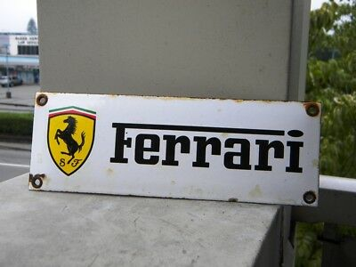 "FERRARI OLD PORCELAIN SIGN ~7-3/4"" x 2-3/4"" DINO OIL HORSE GAS TESTAROSSA ENZO"