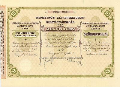 International Machinery Trading Company 1927 Budapest Hungary stock certificate