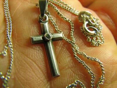 VERY NICE OLD VINTAGE  STERLING  SILVER CROSS with CHAIN  #6579