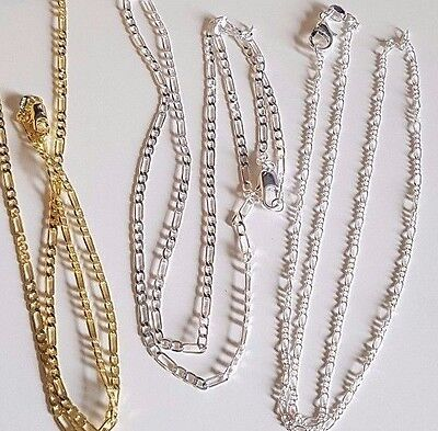 Gold Plated or Silver Plated Fine Figaro Necklace Chain 3 lengths + gift bag