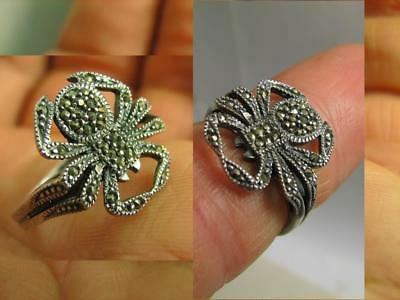 Spider !  Author's Work! Excellent Vintage Sterling Silver Ring !#6584