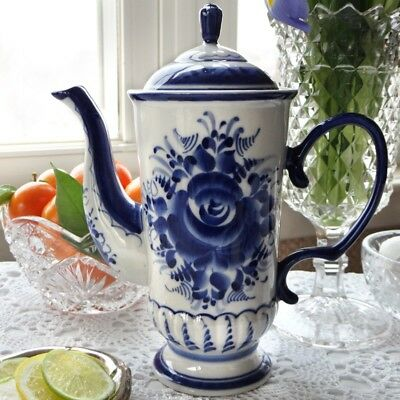 Porcelain Coffee Pot Made in Russia Hand Painted Origina Authentic Gzhel Гжель