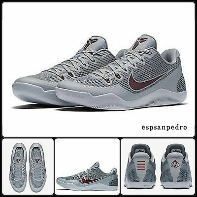 Nike Kobe XI Size UK 8, EUR 42.5 Cool Wolf Grey Team Red  [836183 006] BNIB