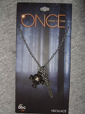 Disney ABC Once Upon A Time Captain Hook Pirate Skull Dagger Pendant Necklace