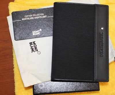 MONTBLANC NIGHTFLIGHT LEATHER & FABRIC PASSPORT HOLDER Mint or Unused