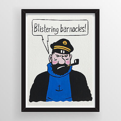 NOT A PRINT - Original Art - Gouache Painting - Captain Haddock from Tintin