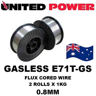 2 X 1 kg X 0.8mm  E71T-GS GASLESS MIG WELDING WIRE FLUX CORED MILD STEEL