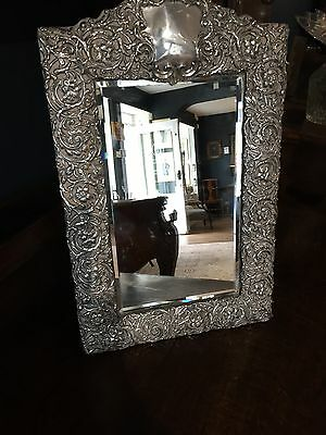 Stunning Sterling Silver Repousse Mirror 1899 Large