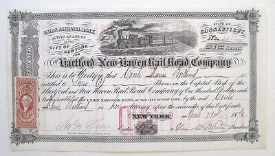 Hartford & New Haven Railroad Stock  Certificate 1876 R44