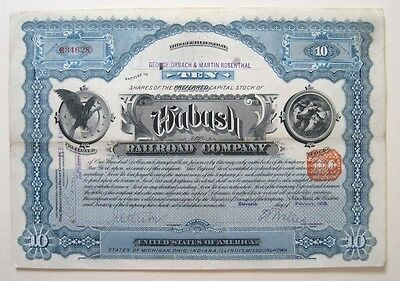 Wabash Railroad Stock Certificate 1910