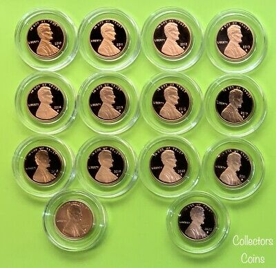2010 - 2017 9 Coin S Lincoln Shield Cent Set w8 Proofs & 1 Enhanced Uncirculated