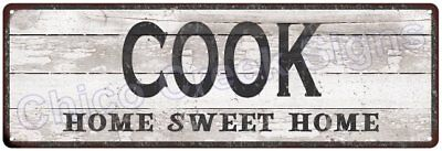 COOK Home Sweet Home Country Look Gloss Metal Sign 6x18 Chic Décor M61801228