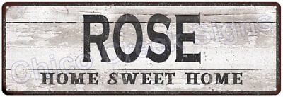 ROSE Home Sweet Home Country Look Gloss Metal Sign 6x18 Chic Décor M61801246