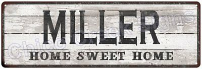 MILLER Home Sweet Home Country Look Gloss Metal Sign 6x18 Chic Décor G61801570