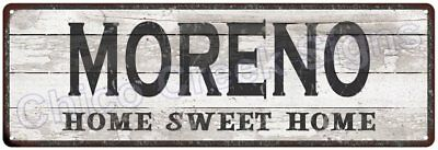 MORENO Home Sweet Home Country Look Gloss Metal Sign 6x18 Chic Décor G61801618