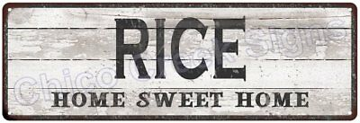 RICE Home Sweet Home Country Look Gloss Metal Sign 6x18 Chic Décor G61801247