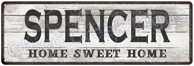 SPENCER Home Sweet Home Country Look Gloss Metal Sign 6x18 Chic Décor G61801864