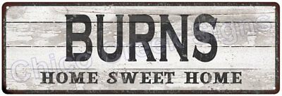 BURNS Home Sweet Home Country Look Gloss Metal Sign 6x18 Chic Décor M61801390