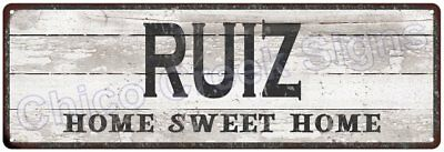 RUIZ Home Sweet Home Country Look Gloss Metal Sign 6x18 Chic Décor G61801241