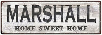 MARSHALL Home Sweet Home Country Look Gloss Metal Sign 6x18 Chic Décor G61802050