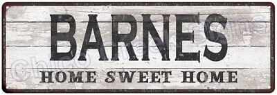 BARNES Home Sweet Home Country Look Gloss Metal Sign 6x18 Chic Décor M61801600
