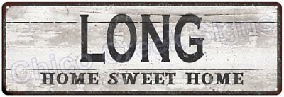 LONG Home Sweet Home Country Look Gloss Metal Sign 6x18 Chic Décor G61801236