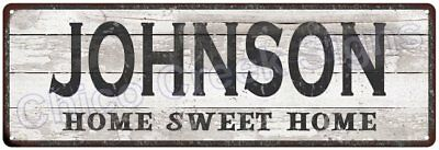 JOHNSON Home Sweet Home Country Look Gloss Metal Sign 6x18 Chic Décor M61801834