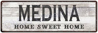 MEDINA Home Sweet Home Country Look Gloss Metal Sign 6x18 Chic Décor G61801619