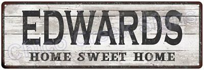 EDWARDS Home Sweet Home Country Look Gloss Metal Sign 6x18 Chic Décor M61801840