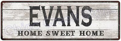 EVANS Home Sweet Home Country Look Gloss Metal Sign 6x18 Chic Décor G61801374
