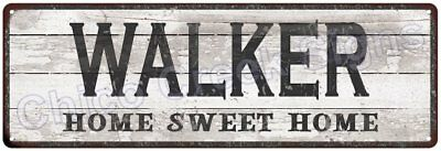 WALKER Home Sweet Home Country Look Gloss Metal Sign 6x18 Chic Décor M61801577