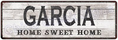 GARCIA Home Sweet Home Country Look Gloss Metal Sign 6x18 Chic Décor M61801571