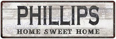 PHILLIPS Home Sweet Home Country Look Gloss Metal Sign 6x18 Chic Décor M61802044