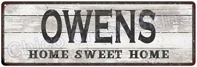 OWENS Home Sweet Home Country Look Gloss Metal Sign 6x18 Chic Décor G61801386