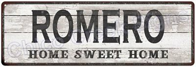 ROMERO Home Sweet Home Country Look Gloss Metal Sign 6x18 Chic Décor G61801614