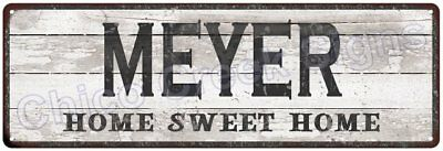 MEYER Home Sweet Home Country Look Gloss Metal Sign 6x18 Chic Décor M61801397