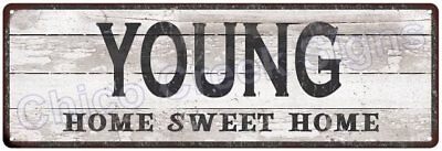 YOUNG Home Sweet Home Country Look Gloss Metal Sign 6x18 Chic Décor M61801368