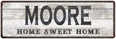 MOORE Home Sweet Home Country Look Gloss Metal Sign 6x18 Chic Décor M61801362