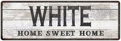 WHITE Home Sweet Home Country Look Gloss Metal Sign 6x18 Chic Décor G61801363