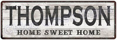 THOMPSON Home Sweet Home Country Look Gloss Metal Sign 6x18 Chic Décor M61802039