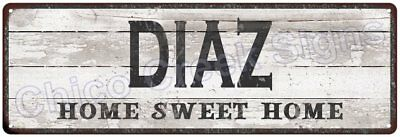 DIAZ Home Sweet Home Country Look Gloss Metal Sign 6x18 Chic Décor G61801232