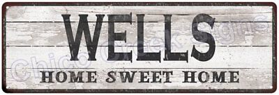 WELLS Home Sweet Home Country Look Gloss Metal Sign 6x18 Chic Décor G61801387