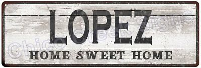 LOPEZ Home Sweet Home Country Look Gloss Metal Sign 6x18 Chic Décor G61801364